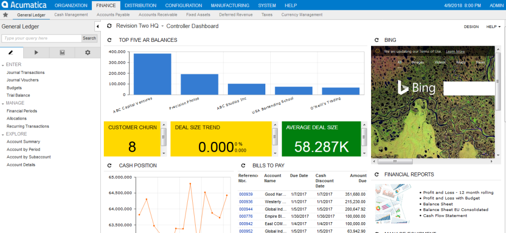 acumatica finance dashboard